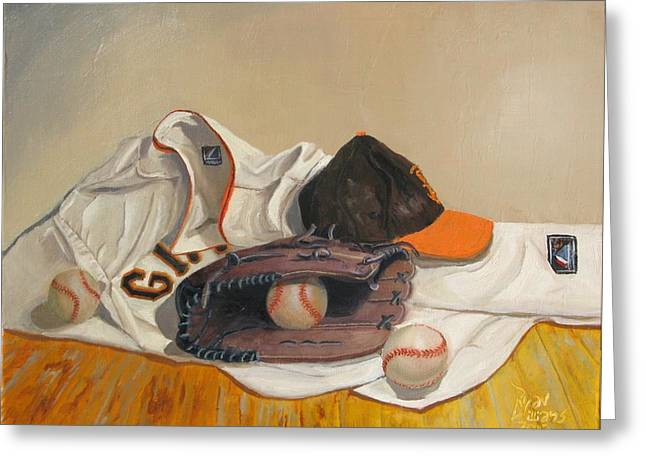 Baseball Uniform Paintings Greeting Cards - The Giant Sleeps Tonight Greeting Card by Ryan Williams