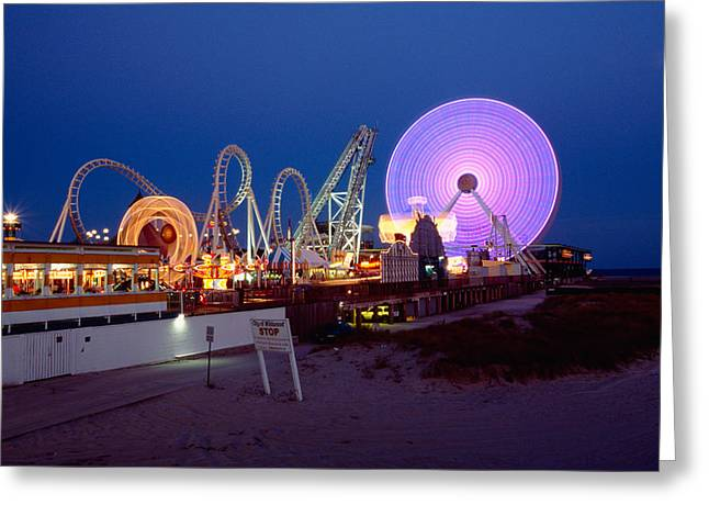 Wildwood Greeting Cards - The Giant Wheel at Night  Greeting Card by George Oze