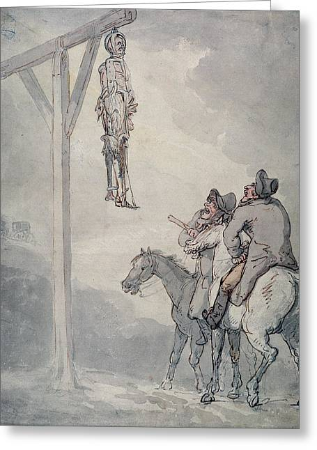 Gallows Greeting Cards - The Gibbet Pen & Ink And Wc On Paper Greeting Card by Thomas Rowlandson