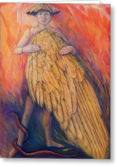Mythology Greeting Cards - The Gift, 2013 Pastel Greeting Card by Silvia Pastore