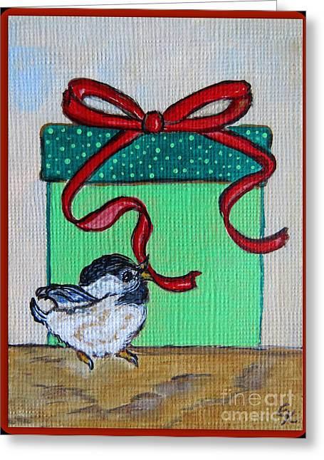 Colorful Photography Drawings Greeting Cards - The Gift - Christmas Chickadee Whimsical Painting by Ella Greeting Card by Ella Kaye Dickey