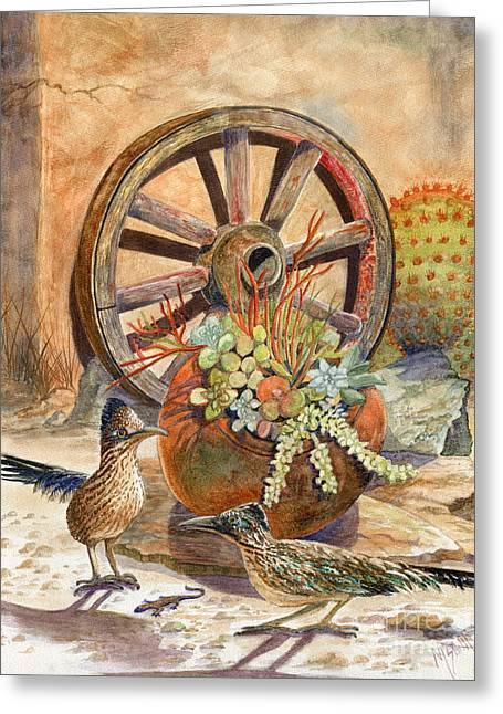 Wooden Wagons Paintings Greeting Cards - The Gift Greeting Card by Marilyn Smith