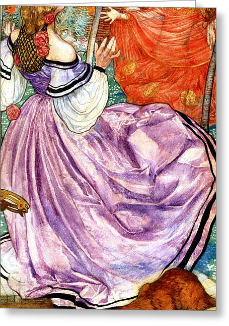 Woman In A Dress Greeting Cards - The Gilded Apple Greeting Card by Eleanor Fortescue Brickdale