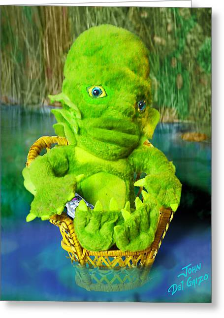 1950s Movies Greeting Cards - The Gillman Chillaxs Greeting Card by Del Gaizo
