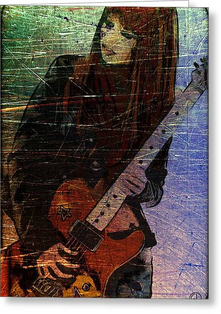 Red Guitar Digital Art Greeting Cards - The girl and her steel guitar Greeting Card by Gun Legler