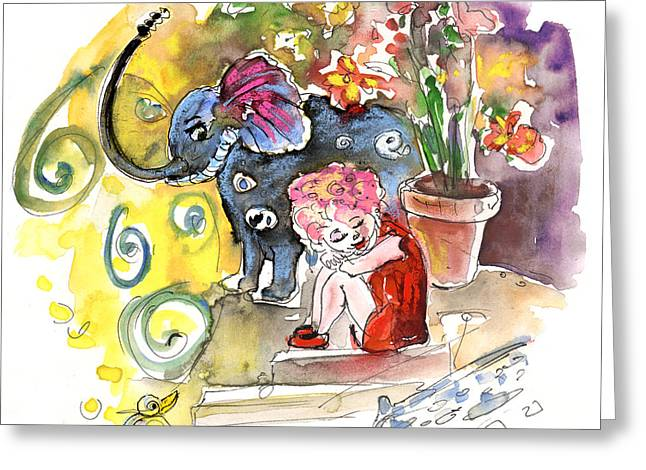 Toy Shop Paintings Greeting Cards - The Girl and The Elephant and The Bird from Velez Rubio Greeting Card by Miki De Goodaboom