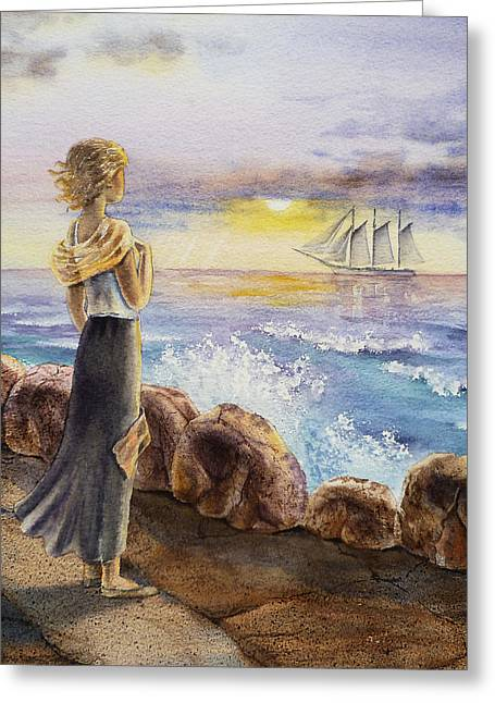 Beach Decor Paintings Greeting Cards - The Girl And The Ocean Greeting Card by Irina Sztukowski