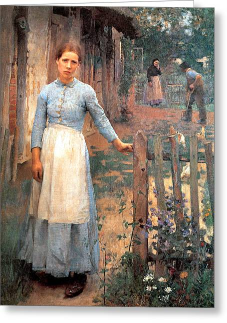 Old Masters Greeting Cards - The Girl at the Gate Greeting Card by Sir George Clausen