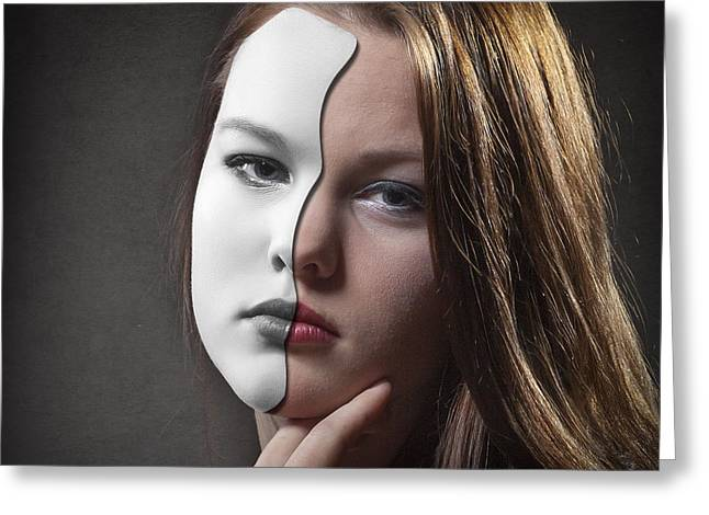 Secret Behind Faces Greeting Cards - The Girl Behind the Mask Greeting Card by Erik Brede