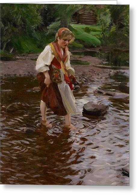 Headscarf Greeting Cards - The Girl from Alvdalen Greeting Card by Anders Leonard Zorn