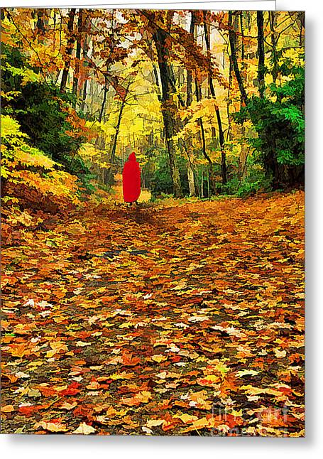 Alone Digital Art Greeting Cards - The Girl in Red Greeting Card by Darren Fisher
