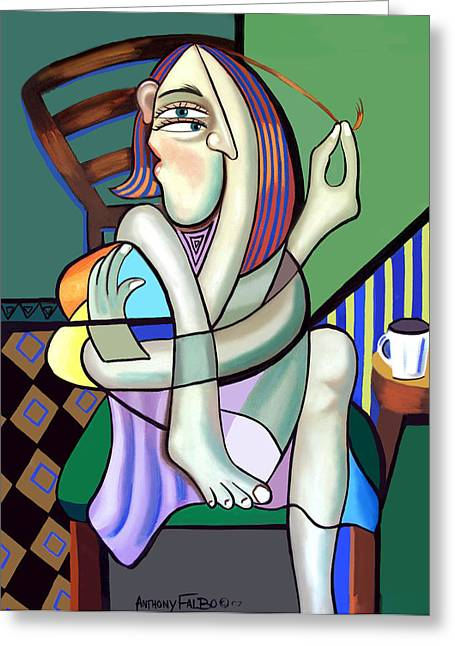 Coffee Prints Greeting Cards - The Girl Next Door Greeting Card by Anthony Falbo