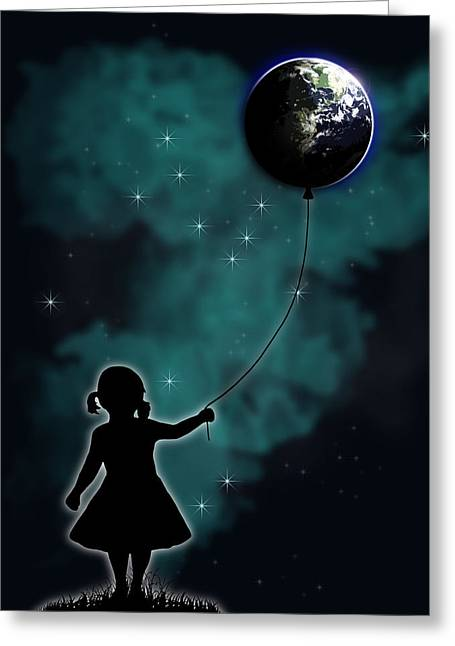 Balloon Digital Art Greeting Cards - The Girl That Holds The World Greeting Card by Nicklas Gustafsson