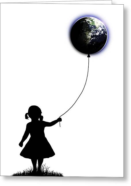 Balloon Digital Art Greeting Cards - The Girl That Holds The World - White  Greeting Card by Nicklas Gustafsson