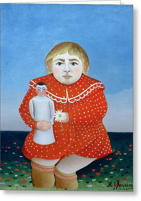 29 Greeting Cards - The Girl With A Doll, C.1892 Or C.1904-05 Oil On Canvas Greeting Card by Henri J.F. Rousseau
