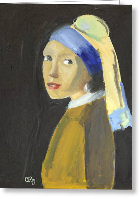 Girl With A Pearl Earring Greeting Cards - The Girl With a Pearl Earring Greeting Card by Abby Margo