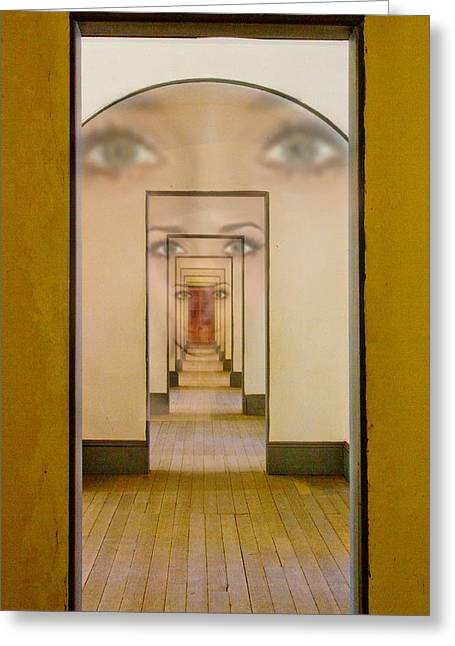 Brown Eyed Girl Greeting Cards - The Girl With Far Away Eyes Greeting Card by Bill Gallagher