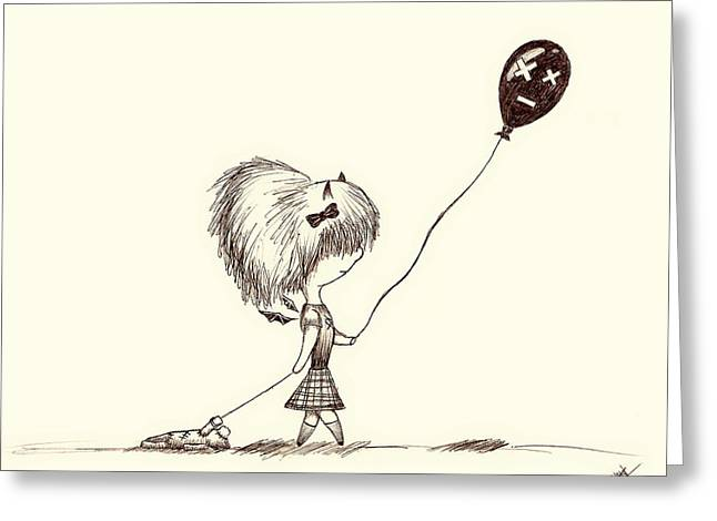 Dog Walking Drawings Greeting Cards - The Girl with the Ballon and Patched Pet Greeting Card by Mountain Dreams