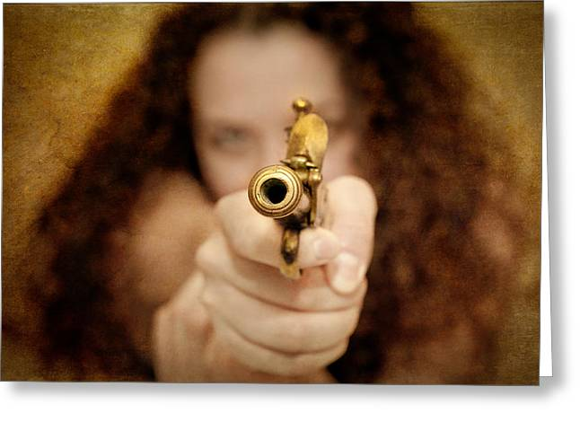 Weaponry Greeting Cards - The Girl with the Golden Gun Greeting Card by Loriental Photography