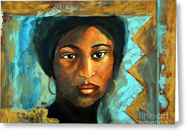 Northern Africa Paintings Greeting Cards - The girl with the green scard Greeting Card by Daniela Abrams