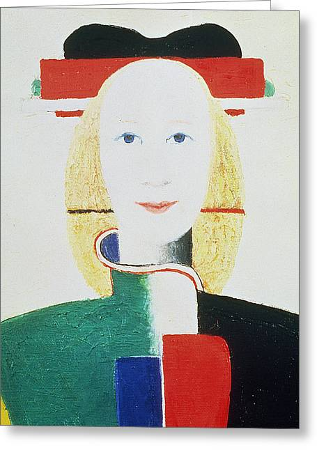 Malevich Greeting Cards - The Girl with the Hat Greeting Card by Kazimir Severinovich Malevich
