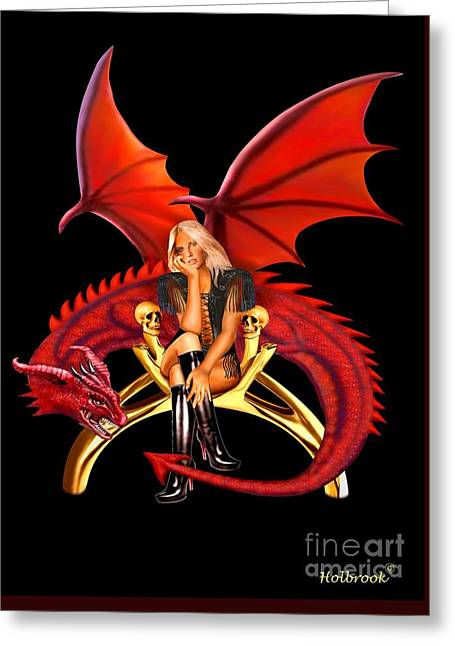 Tamer Greeting Cards - The Girl With the Red Dragon Greeting Card by Glenn Holbrook