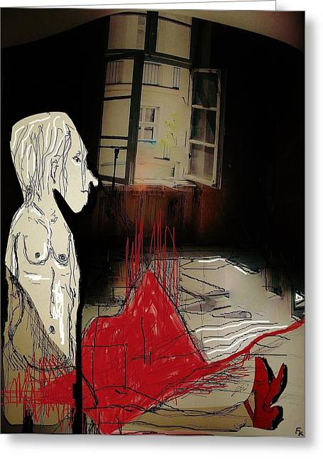 Outlook Greeting Cards - The girl with the red shoes Greeting Card by Franziska Kolbe