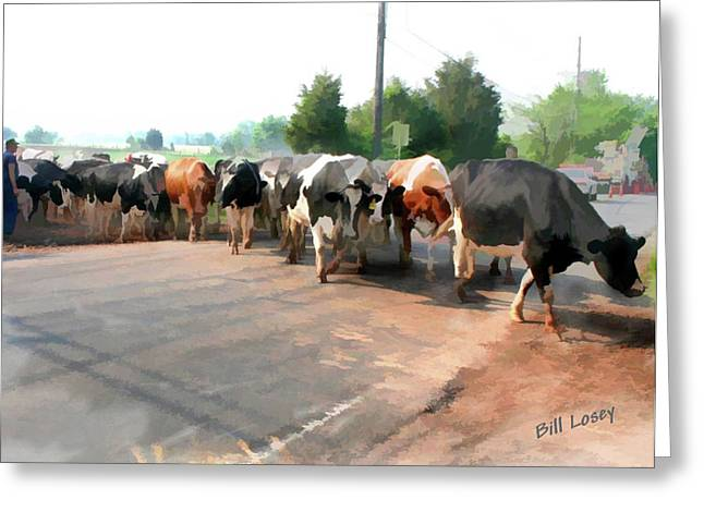 The Girls Crossing The Road Greeting Card by Bill Losey
