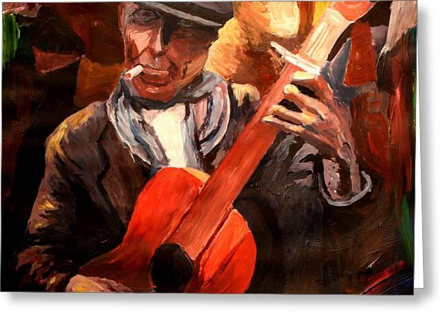 The Gitarrero The Guitarplayer Greeting Card by M Bleichner