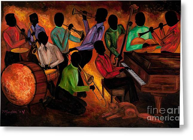 African Greeting Cards - The GitDown HoeDown Greeting Card by Larry Martin