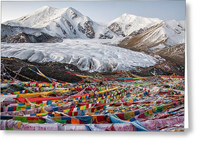 Tibetan Buddhism Greeting Cards - The Glacier Greeting Card by James Wheeler