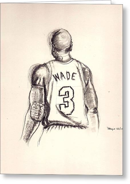 Miami Heat Drawings Greeting Cards - The Gladiator Greeting Card by Dallas Roquemore