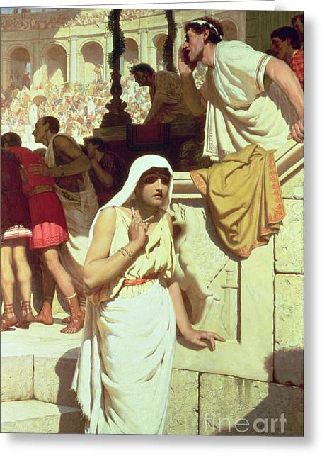 1884 (oil On Canvas) Greeting Cards - The Gladiators Wife Greeting Card by Edmund Blair Leighton