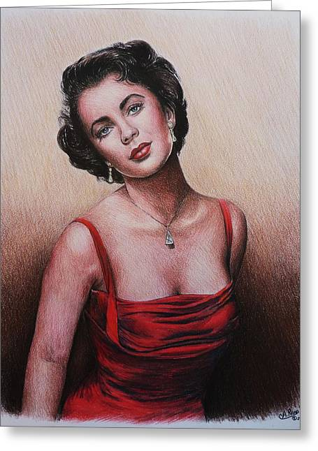 Famous Person Drawings Greeting Cards - The glamour days Elizabeth Taylor Greeting Card by Andrew Read