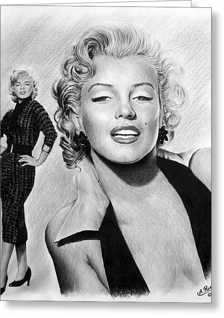 Pout Greeting Cards - The Glamour days Marilyn Monroe Greeting Card by Andrew Read