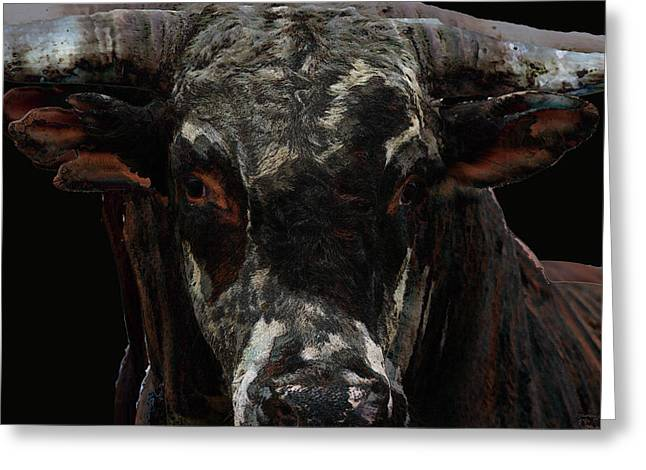 Rodeo Bucking Bull Cattle Horns Eyes Abstract Cow Greeting Cards - The Glare Greeting Card by Andrea Lawrence