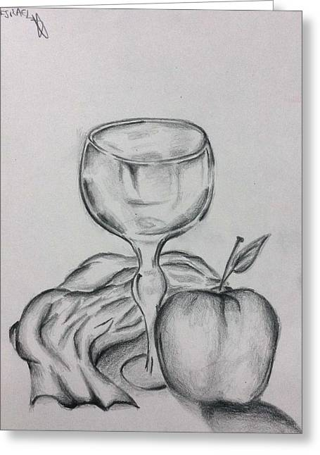 Table Cloth Drawings Greeting Cards - The glass and apple Greeting Card by Israel Silva