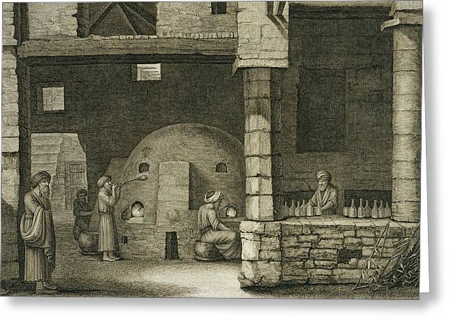 Kiln Greeting Cards - The Glass Bottle Maker, From Volume Ii Greeting Card by Nicolas Jacques Conte