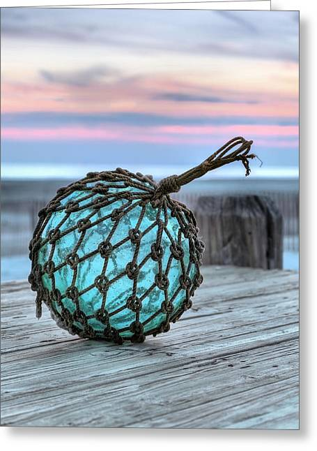 Green Ocean Glass Greeting Cards - The Glass Fishing Float Greeting Card by JC Findley
