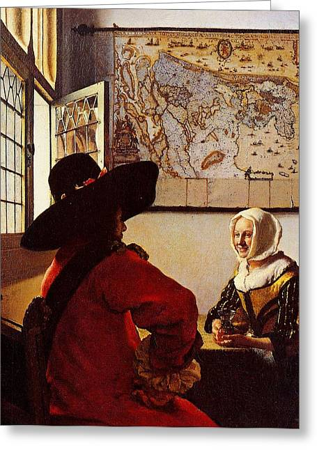 Old Man With Hat Greeting Cards - The Glass Of Wine Greeting Card by Johannes Vermeer