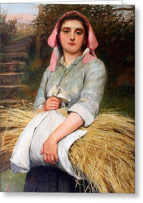 Charles Lidderdale Greeting Cards - The Gleaner Greeting Card by Charles Sillem Lidderdale