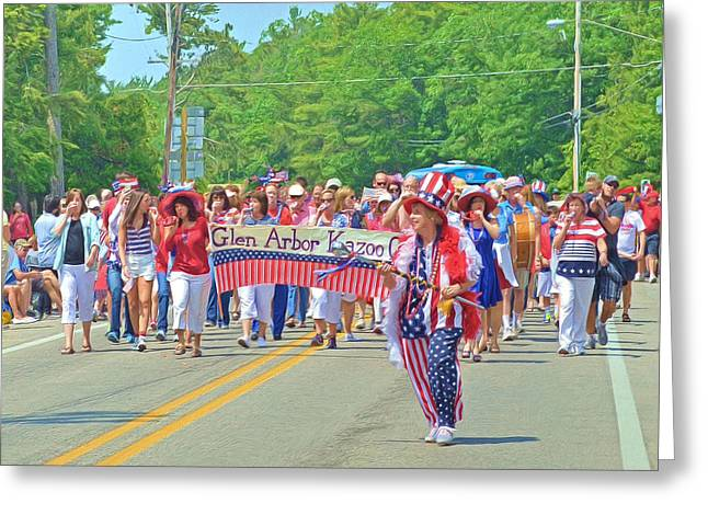 4th Of July Parade Greeting Cards - The Glen Arbor Kazoo Corps Greeting Card by Digital Photographic Arts
