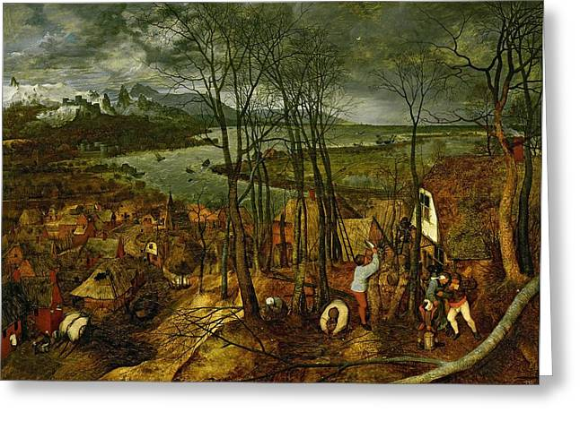 Wood Cutters Greeting Cards - The Gloomy Day - Spring, 1559 Greeting Card by Pieter the Elder Bruegel
