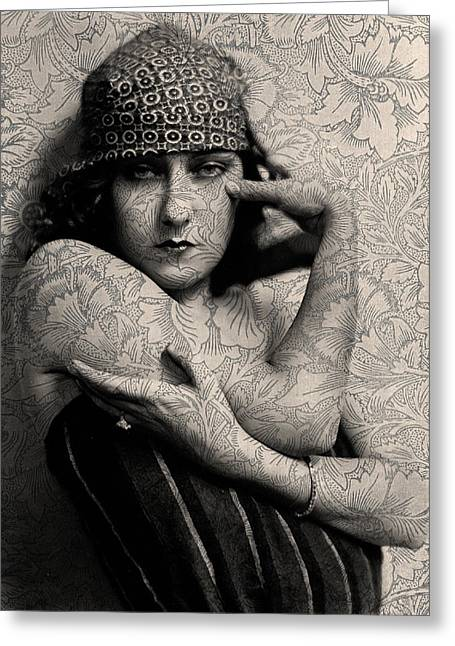 Sarah Vernon Greeting Cards - The Gloria Swanson Tattoo Greeting Card by Sarah Vernon