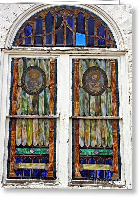 The Glory Of Stain Glass And Light Greeting Card by Marcia L Jones