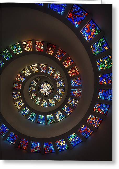 Stained Glass Glass Greeting Cards - The Glory Window in Thanks-Giving-Square Dallas Greeting Card by Mountain Dreams