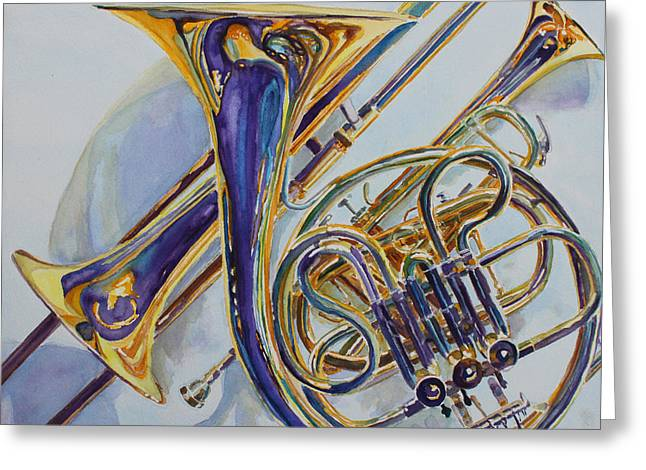 Trio Greeting Cards - The Glow of Brass Greeting Card by Jenny Armitage