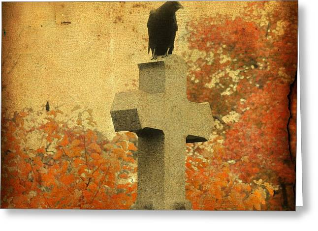 Ravens In Graveyard Greeting Cards - The Glow Of Fall Greeting Card by Gothicolors Donna Snyder