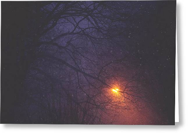 New York Night Greeting Cards - The Glow Of Snow Greeting Card by Carrie Ann Grippo-Pike