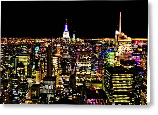 The Glow Of The New York City Skyline Greeting Card by Dan Sproul
